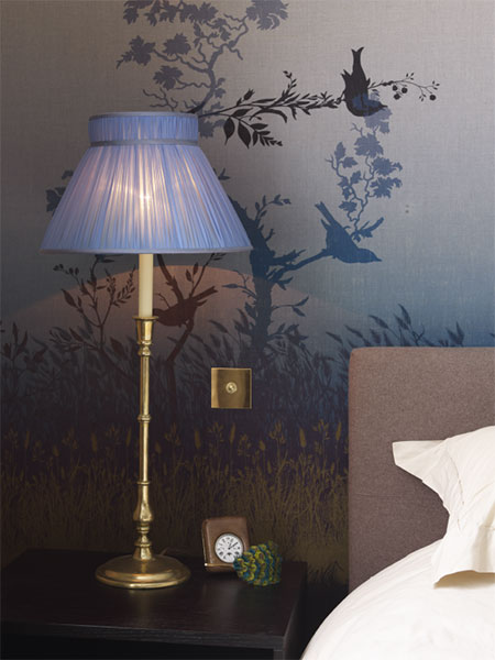 Bespoke blue pleated lampshade