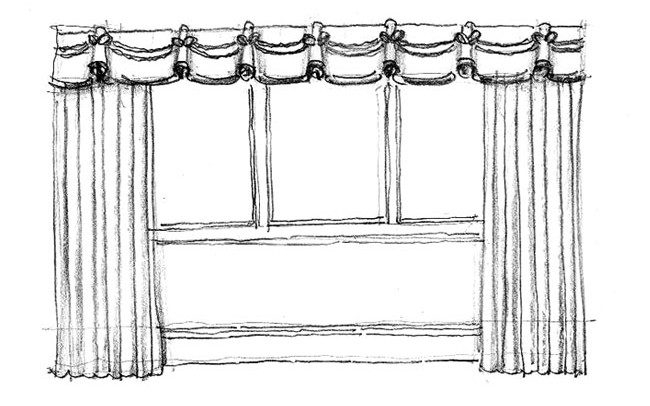 Made to Measure Curtains with a goblet headed valance with rope detail