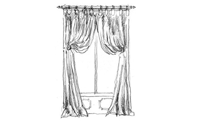 Made to Measure Curtains Goblet headed curtains on pole with holdbacks