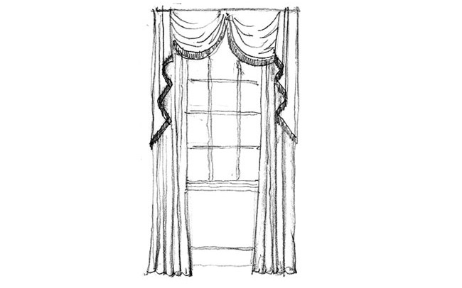 Made to measure Curtains Valance with swags & tails with a contrast fringe