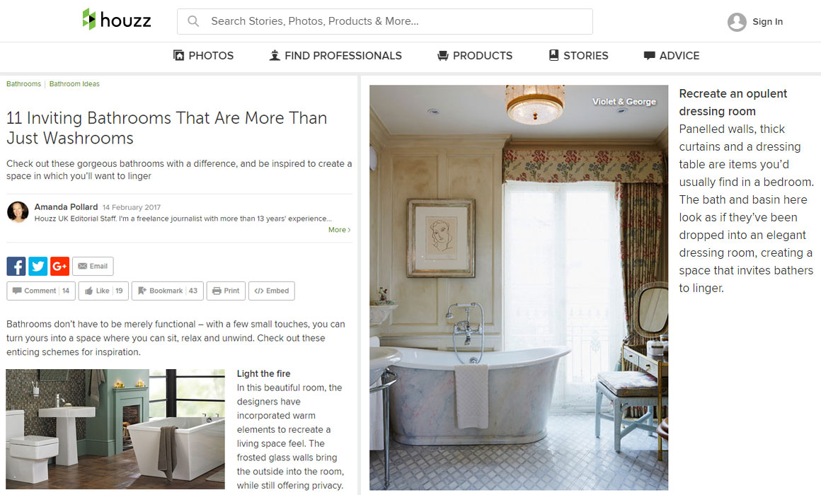 Houzz Bathroom Design Article Featuring Violet George