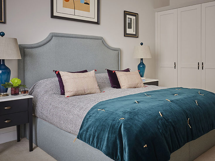 Bespoke bed with headboard and upholstered base