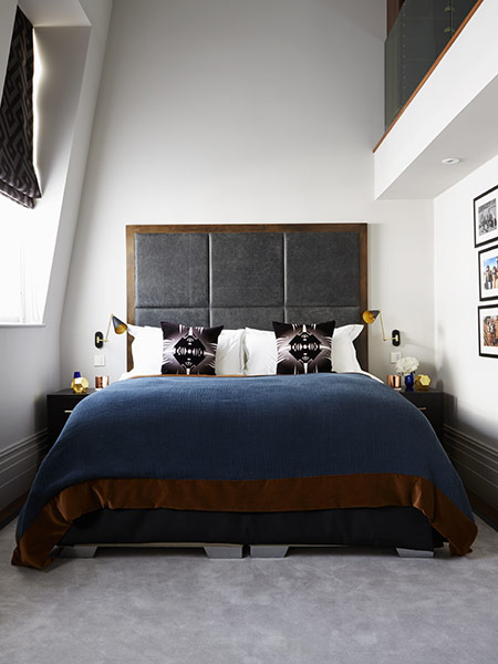 Bespoke leather headboard with metal frame