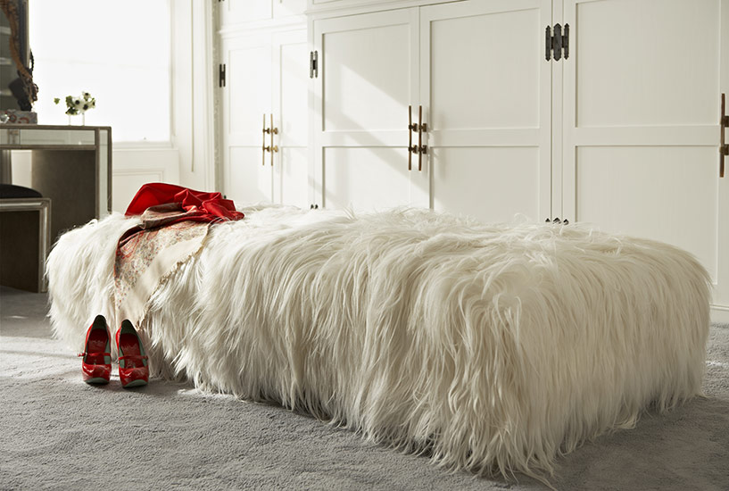 Bespoke ottoman made to order in goat skin